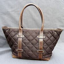 """J CREW QUILTED TOTE, Brown Diagonal  Double Strap Shopper Leather Trim 11""""L 6""""D"""