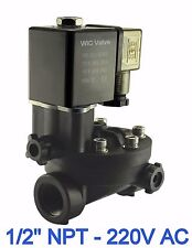 "1/2"" Inch PA66 Plastic Electric Air Water Solenoid Valve Manual Override 220V AC"