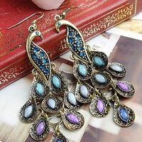 Women Vintage Bohemian Style Peacock Drop Hook Earrings Jewelry Gift Little