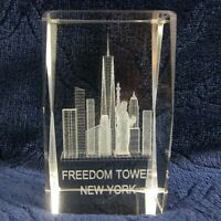 Freedom Tower New York NYC 3D Image Glass Art Paperweight Statue Of Liberty
