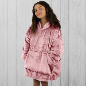 Hoodie Blanket by Snoogie Warm Double Layer 430gsm, Unisex Kids Size   Pink