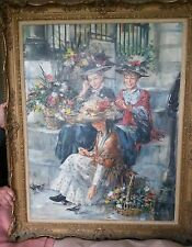 "RARE ORIGINAL GORDON KING ""Summer Flower Girls country life harvest OIL PAINTING"