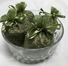Set of 4 Lavender Sachets made with Olive Organza Bags