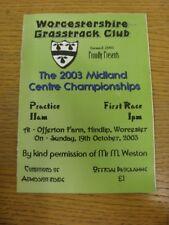 19/10/2003 Grasstrack Racing Programme: Midland Centre Championships [At Worcest