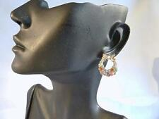 Acrylic Yellow Gold Plated Round Stone Costume Earrings