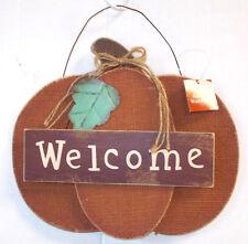 "Primitive Burlap Pumpkin Welcome Wood Wall Hanging Sign Halloween Decor 11"" NWT"
