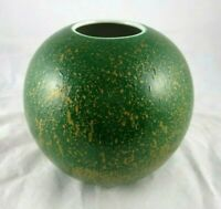 "Vintage Toyo Ceramic Green Gold Splatter Round Orb Vase China Made 6.25"" x 6.25"""