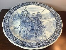 "Vintage BOCH Blue DELFT Couple on Horse Driven Sleigh Ride 15.25"" Charger Plate"