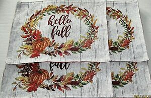 "FALL Tapestry Placemat's HELLO FALL 13"" x 18"""