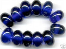 12 Lampwork Handmade Glass Beads Cobalt Blue Rondelle Loose Craft Spacer 8x12mm