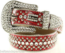BB Simon Swarovski Crystal Red Leather Belt 38 XXL New