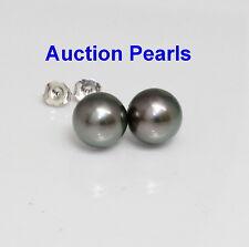 Tahitian Peacock Pearl Stud Earrings 14kt White 11 - 12 AAA Flawless