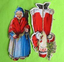 Rare Victorian Scrap Santa Xmas Witch Halloween 1930's