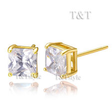 T&T 14K Gold GP 5mm Clear CZ Square Stud Earrings ES02A(5)