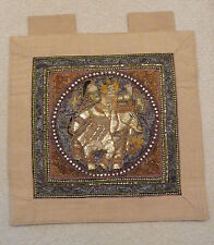 """Thai Tapestry Kalaga (24"""" by 24"""") Sequins & Stitching Depict Elephant and Rider"""