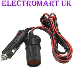 12V 12 VOLT CAR CIGAR LIGHTER SOCKET POWER DC EXTENSION LEAD PLUG CABLE 2M FUSED