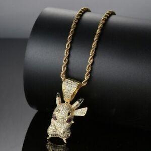 "Pokemon Pikachu Hip Hop Pendant Necklace W/ 24"" Chain In Gift Box"