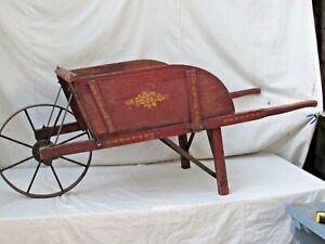 Antique Wooden Wheelbarrow Original Red Paint & Detail Metal Wheel  Pennsylvania