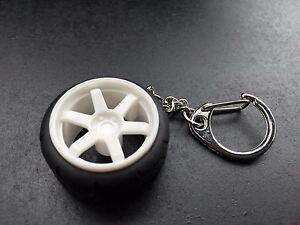 TE37 Style GRID Concave Wheel Rims w/ A050 Racing Tire Keychain JDM