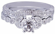 18k White Gold Round Cut Diamond Engagement Ring And Band Bridal Set 0.75ctw