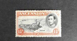 Ascension island stamp KGVI MH. 1 1/2d red, black.