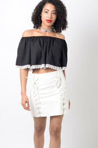 Womens Skirt White PU Lace Up Mini Ladies Faux leather fabric High Waisted