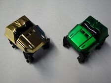 2 Micro Knex Mini Roller Coaster Cars Metallic Gold & Green Parts/Pieces Lot
