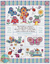 Cross Stitch Kit ~ Janlynn Bug in a Rug Flowers & Insects Birth Record #021-1417