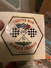Indy 500 Indianapolis Klincher Locknuts Water Release Decal Original