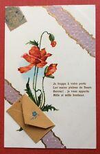 CPA. Coquelicots. Ajoutis Petite Enveloppe. Gaufrée. Embossed. Années 1900.