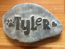 Pet memorial hand-carved into natural stone, personalised animal dog cat heart