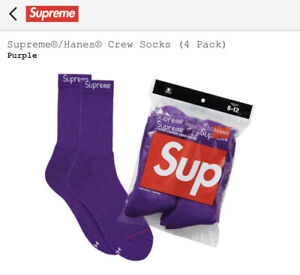 New Supreme/Hanes Crew Socks Purple One Size (4-Pairs) *Confirmed Order*