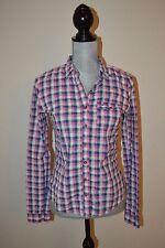 Hollister Women's Juniors Plaid Pink & Blue Button Down Shirt Top Size S EUC