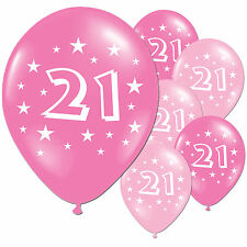 """20 Fuschia Baby Pink 21st Birthday Party 11"""" Pearlised Latex Printed Balloons"""