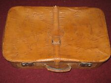 Vintage Large Tan Beige Solid Leather Suitcase Trunk