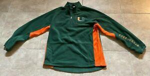 University of Miami Hurricanes 1/4 Zip Green Fleece Jacket Men's Size L Large