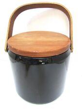 Georges Briard Vintage MCM Mid Century Black Patent Vinyl Teak Ice Bucket EXC