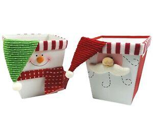 Christmas Decoration Holiday Basket Boxes 6x6 Santa Snowman Baskets Lot Of 2 NOS