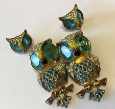 CORO STERLING SILVER RHINESTONE & ENAMEL OWL DUETTE FUR CLIP BROOCH & EARRINGS