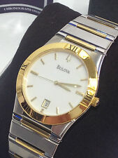 MEN'S BULOVA 98B015 ELEGANT 2-TONE GOLD / SILVER BRACELET WHITE WATCH NEW IN BOX