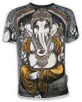WEED Herren T-Shirt Ganesha der Elefanten-Gott Goa Party Yoga Psy OM AOM M L XL