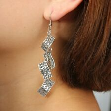 Antique Sliver Funny 100 Dollar Bill Money Currency Dangle Earring Party wedding