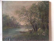 Ecole de BARBIZON L.HENRY XIXe Paysage barque Huile sur toile signée A restaurer