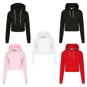 New Kids Girls Crop Top Hoodie Plain Pullover Sweatshirts Hooded Jumpers All Age