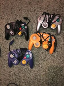 For Nintendo Game Cube Lot 4 Controllers Wired Black, Silver, Orange And Black