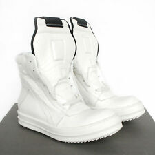 RICK OWENS milk white leather shoes Geobasket hi-top dunks sneakers 39.5 NEW