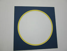 """Picture Framing Mat 18x18 with 16""""x16"""" round opening cobalt and buttercup yellow"""
