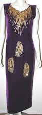 VINTAGE Purple Gold Beaded Velvet Long Evening Dress 6 8 10 Sultan Cleopatra