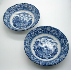 "2 Liberty Blue Cereal Soup Bowls 6 1/4"" Mount Vernon"