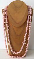 "Vintage Pink MOP Chip & Lucite Barrel Bead Endless Long Necklace 55"""